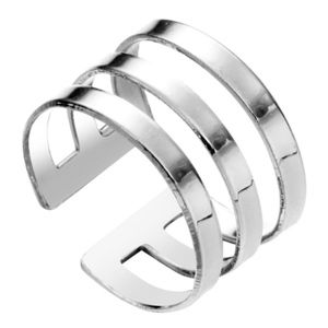 Jewelry - Platinum Silver Triple Band Open Adjustable Ring
